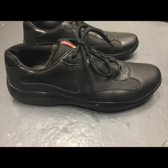 5d917eeb7d857 Prada America's cup black leather sneakers